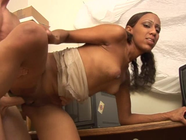 ebony chick fucking white guy