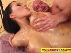 Sperm on her huge oiled natural milkers