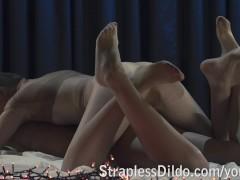 Pantyhose encasement strapon sex