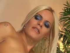 Cumming on blonde shemale's titties - Pandemonium