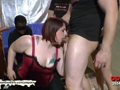 Sexy BBW babe KIM gets her mouth fucked by a group of guys