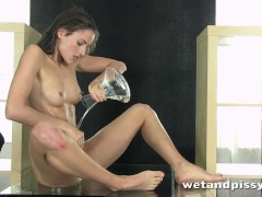 Stunning Czech Silvia Luca squirts piss over the floor and brings herself t