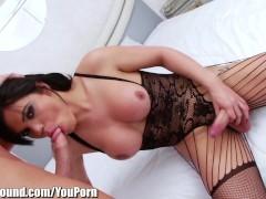 Latin Shemale Ass Fucked and Cumswaps with Guy