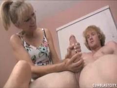 Grandma's Always Been Sneaking On Young Guy's Masturbation
