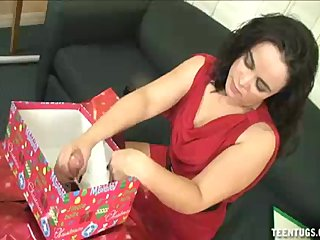Handjob Cumshot Christmas video: She Won t Have Christmas Without Some Huge Dick