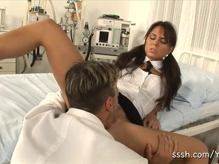 Orgasm Oral Sex Sensual video: Sexy brunette babe drops to her knees and sucks the doctors hard dick