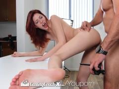CastingCouch-X - Redhead Ashlynn Molloy with long legs cums on the agent