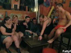 Fat girls striping and sucking cock