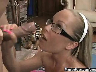 Glasses Big Tits Handjob video: Cutie in glasses lubes cock