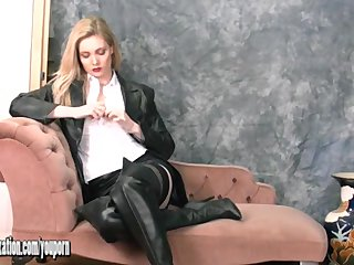 British Lingerie Tits video: Gorgeous babes in leather put on tight pants and sexy boots tease