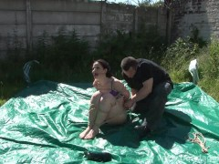 Outdoor bondage and cloth gagging of dominated submissive Caroline Pierce