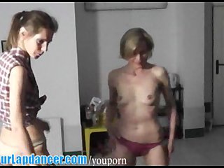 Czech Blowjob Handjob video: Wild MILFs lapdancing and playing with dick