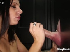 Gloryhole Secrets Lylith Lavey swallows strangers cum