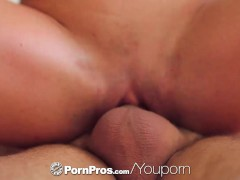 PornPros - Tall brunette Rahyndee James is fucked face down on the table