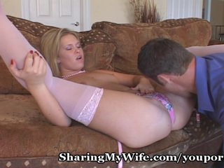 Lingerie Blonde Blowjob video: Wife Secretly Films Herself With Another Man