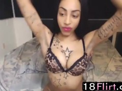 Booty black princess Charlie with hot tattooed body performs - 18flirt.com