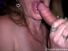 Mature RedHead Sucks Two Dick Gloryhole