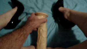 Wife fucking huge dildo part 1