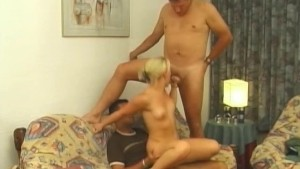 Sexy girl working her pussy for two guys