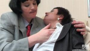 Lesbian crossdressers kissing and strapon fucking