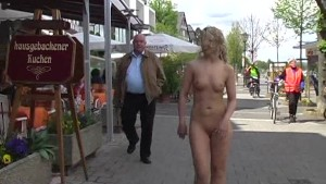 Hot blonde naked in public