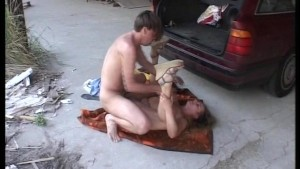 Doing it on a cement floor with a stiff dick