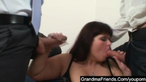 Chubby mature seduced by two young guys