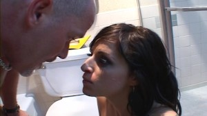 gf eats a load in bathroom