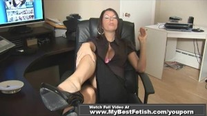 NAUGHTY SECRETARY SMOKE AND SHOW BIG TITS