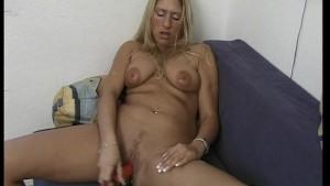 Blonde substitutes cock for dildo [clip]