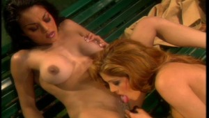 Ladies in red fuck on a park bench