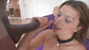 Hot brunette babe teases big black cock