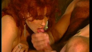 Redhead & brunette share one cock