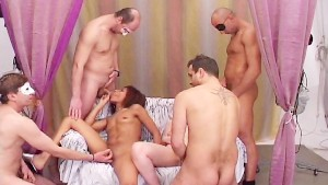 Two hotties get banged by four guys
