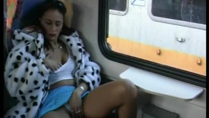 young chick peeing in a train