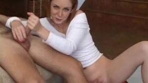 Sticky cum between my horny fingers