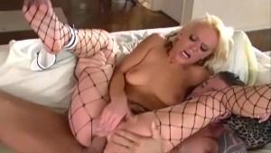 Blonde sex in fencenet pantyhose
