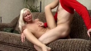 Cute blondie rides on a cock