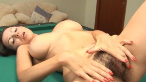 Hairy Kristina plays with balls