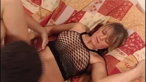 girl in fishnet blouse almost gives guy heart attack orgasm