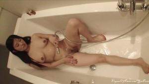French Asian Model Plays In Bathtub