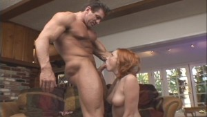 Redhead sucks more after he cums