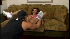 Young amateur Latina fucked on couch