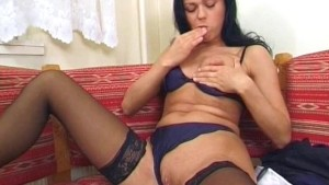 Raven girl strips and gets herself off