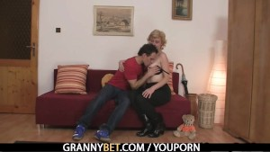 A guy picks up old blonde and fucks her hard