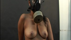 Solo Latina poses in gas mask - Latin-Hot