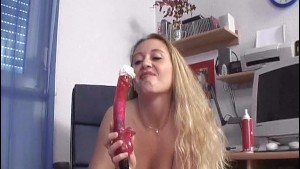 Horny girl plays with herself for the camera - Sascha Production