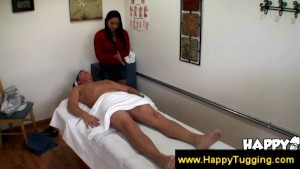 Asian Hotty in red gives massage