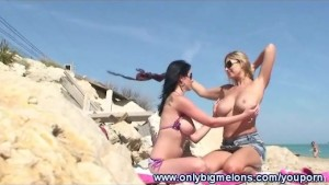 Carol & Adrianne Busty Beach Fun