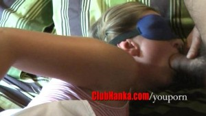 Two guys having fun at tied hot blonde expense